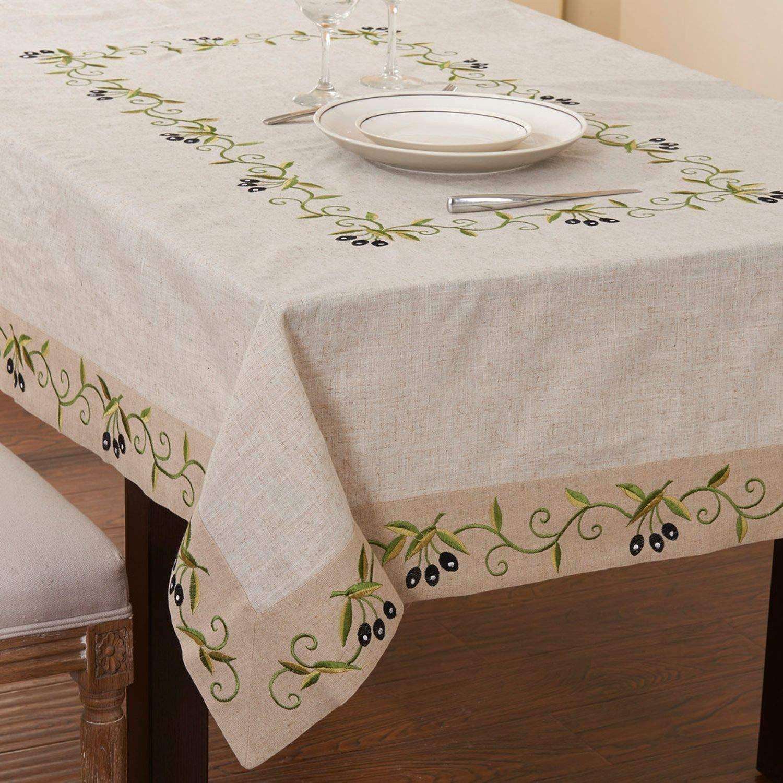Amazon.com & Amazon.com: Sonjer Rectangular Olive Branch Tablelinen Extra Long ...