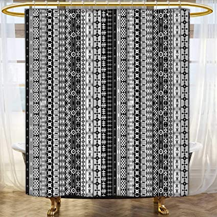 Anhounine Primitive Shower Curtains Fabric Extra Long Black And White African Tribal Motifs Native Artistic Geometric