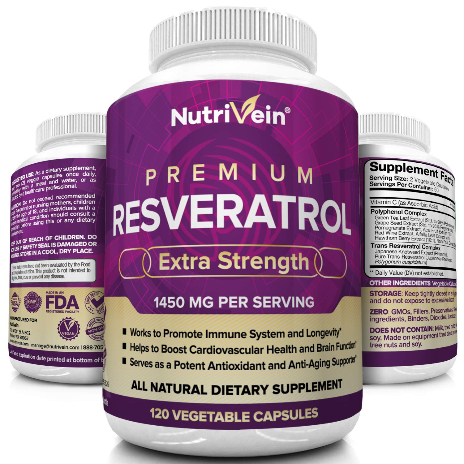 Nutrivein Resveratrol 1450mg - Anti Aging Antioxidant Supplement 120 Capsules - Promotes Immune, Cardiovascular Health and Blood Sugar Support - Made with Trans-Resveratrol, Green Tea Leaf, Acai Berry by Nutrivein