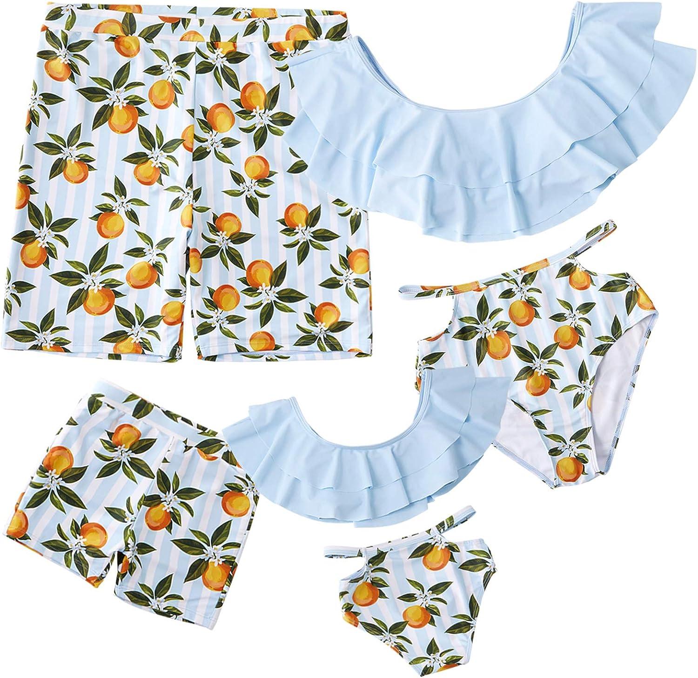 IFFEI Family Matching Swimwear Two Pieces Bikini Set Newest Printed Ruffles Mommy and Me Bathing Suits