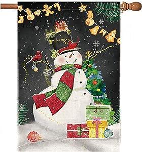 Hexagram Christmas Snowman Garden Flag Vertical Double Sided, Christmas Outdoor Decorations Winter Snow House Flag 28x40 Primitive, Xmas Burlap Yard Flags for Porch Mailbox Lawn Yard Signs Home Decor