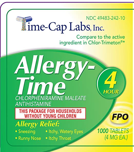 Amazon.com: Allergy-Time Chlorpheniramine Maleate 4mg Generic for Chlor-Trimeton Allergy 1000 Tablets per Bottle: Health & Personal Care