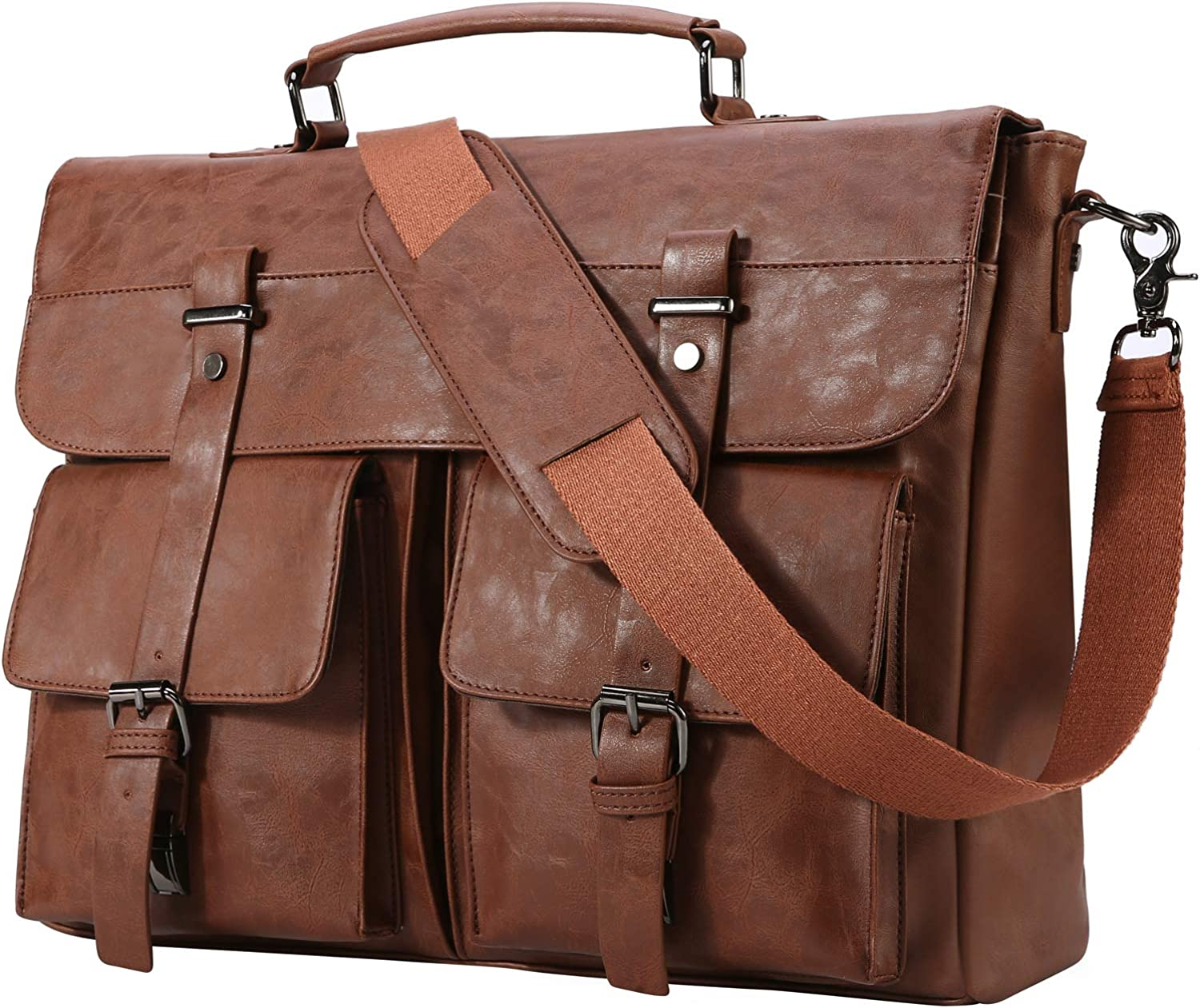 Leather Messenger Bag for Men, 14 15.6 17.3 Inch Vintage Leather Laptop Bag Briefcase Satchel,Large School Work Bag