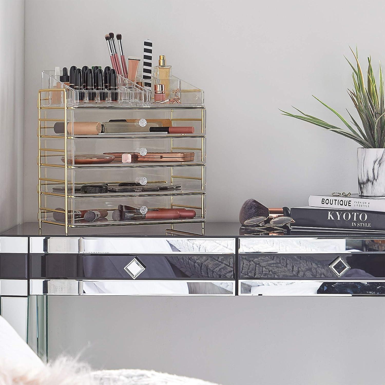 Beautify Organizador Caja Grande de Acrílico para Cosméticos Maquillaje - 4 cajones, 12 compartimentos de labial, 8 espacios: Amazon.es: Hogar
