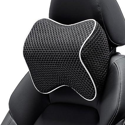 #ZTPE012 Calcifer/® 1 Pcs Comfortable Memory Foam Head Massage Car Neck Pillow Headrest Seat Black+White