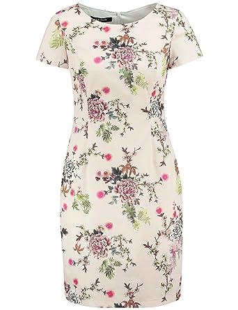bb0b46ea5d1891 TAIFUN Damen Kleid Langarm kurz Etuikleid mit Blumen-Print Misty Rose Druck  42