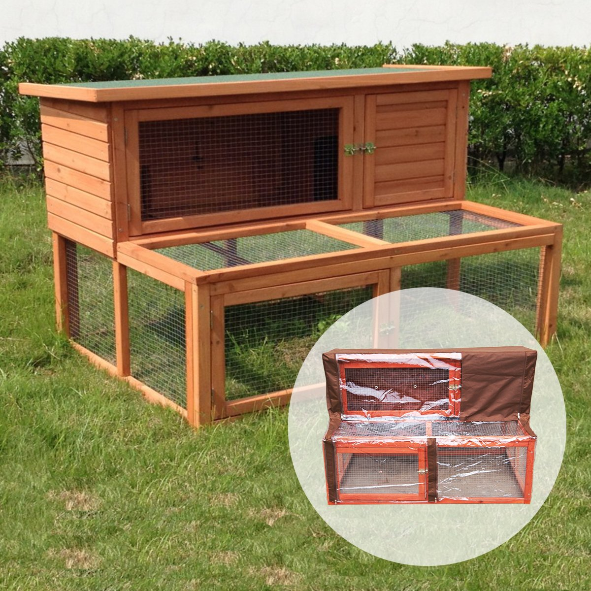 KCT Ancona 4ft Wooden Rabbit Hutch with Extending Run with Cover