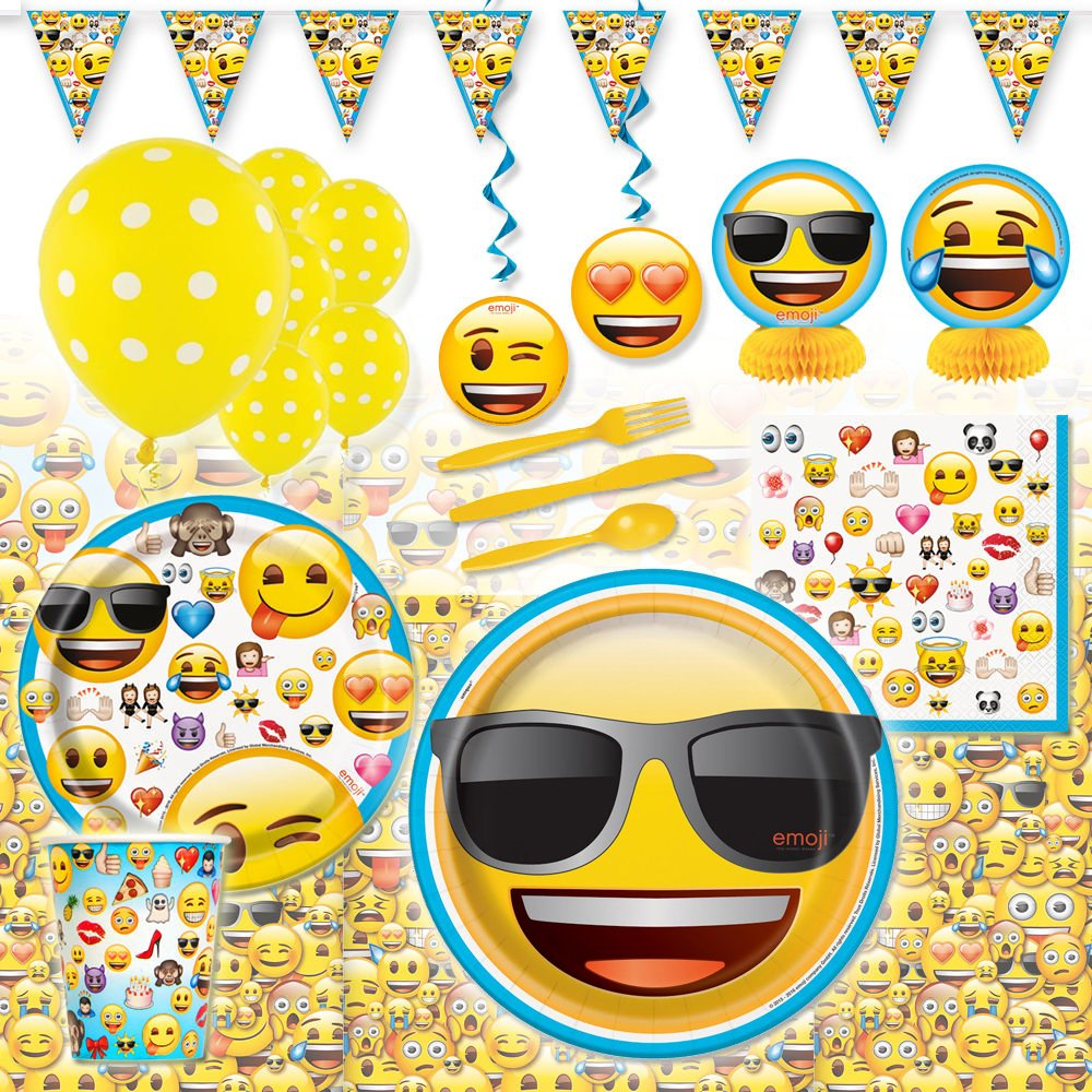 Amazon Emoji Emoticon Deluxe Childrens Birthday Party Pack Decoration Kit For 16 Toys Games