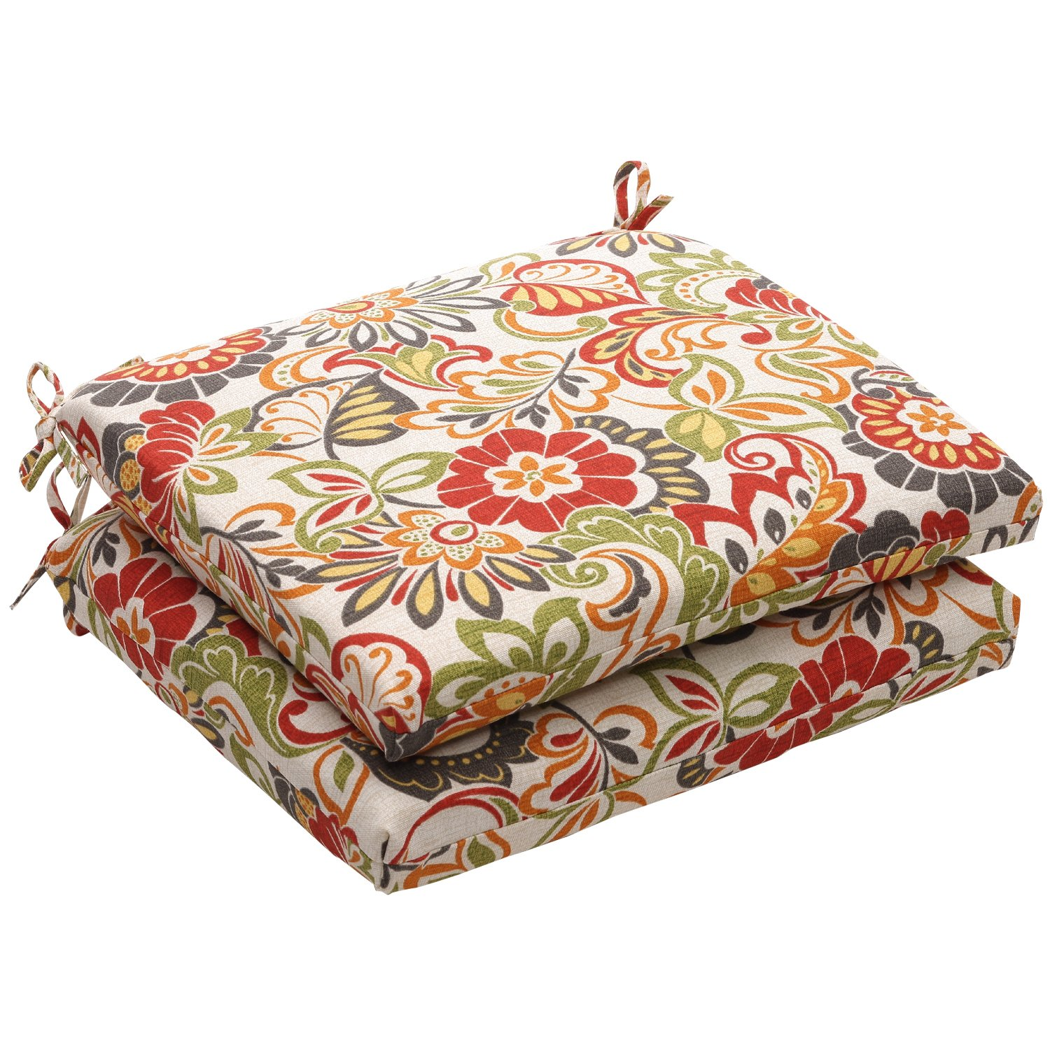 Pillow Perfect Zoe Citrus Squared Corners (Set of 2) Seat Cushion 2 Pack, 18.5 in. L X 16 in. W X 3 in. D, Multicolored by Pillow Perfect