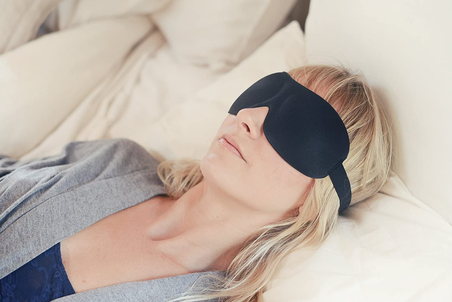 #1 Rated Patented Sleep Mask - Premium Quality Eye Mask with Contoured Shape By Nidra - Ultra Lightweight & Comfortable - Great for Travel, Shift Work, Meditation, Migraines - Sleep Satisfaction Guaranteed – Adjustable Head Straps - Sleep Anywhere Anyt