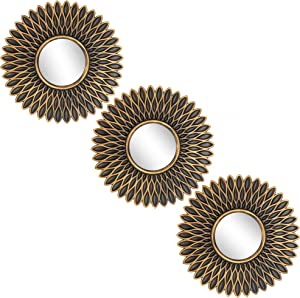 Small Round Mirrors for Wall Decor Set of 3 - Great Home Accessories for Bedroom, Living Room & Dinning Room (M010)