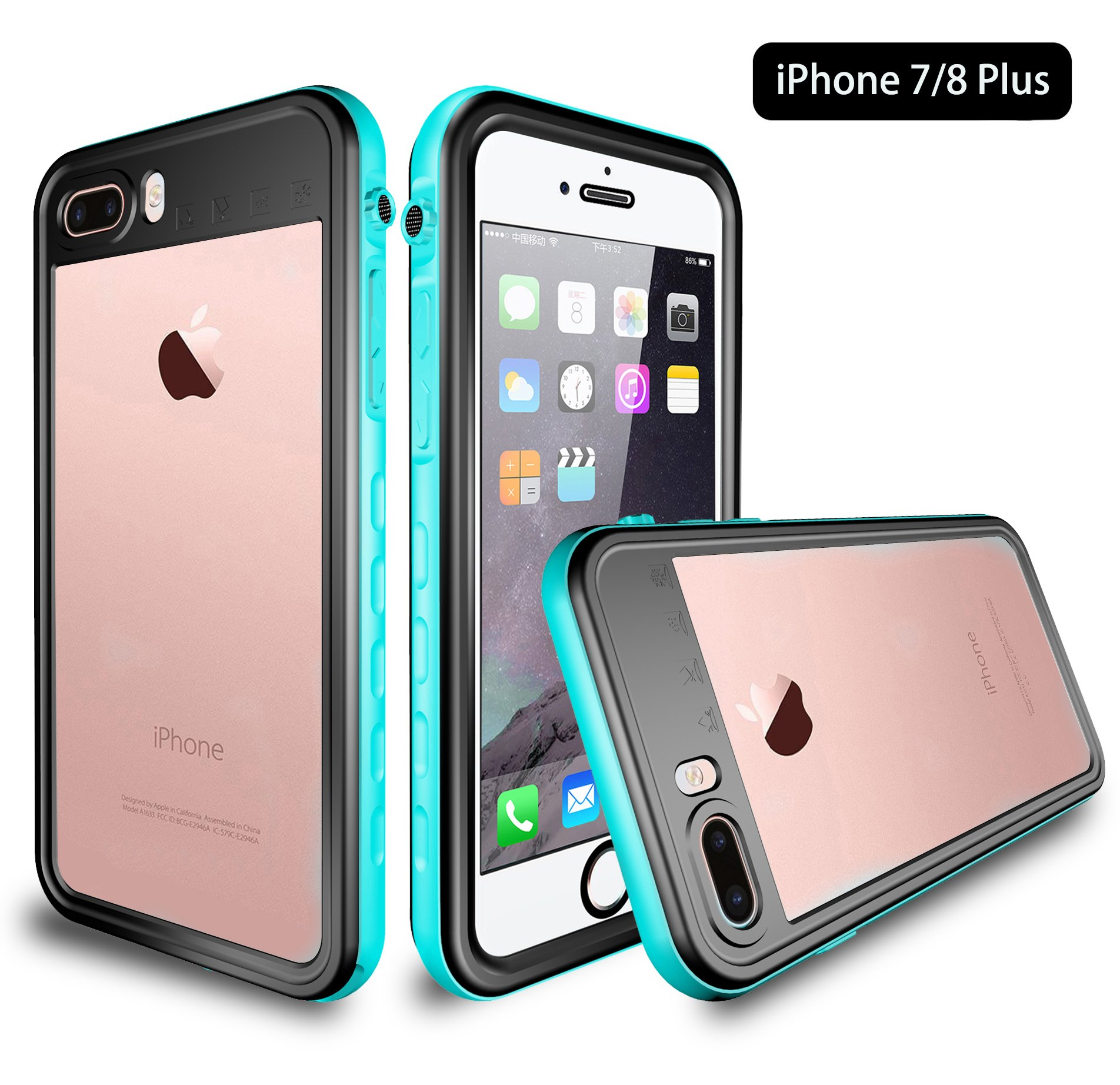 iPhone 8 Plus/7 Plus Waterproof Case, Dooge IP68 Certified Snowproof/Shockproof/Dirtproof Fully Sealed Underwater Fullbody Heavy Duty Protective Case w/Built-in Screen Protector for iPhone 7/8 Plus