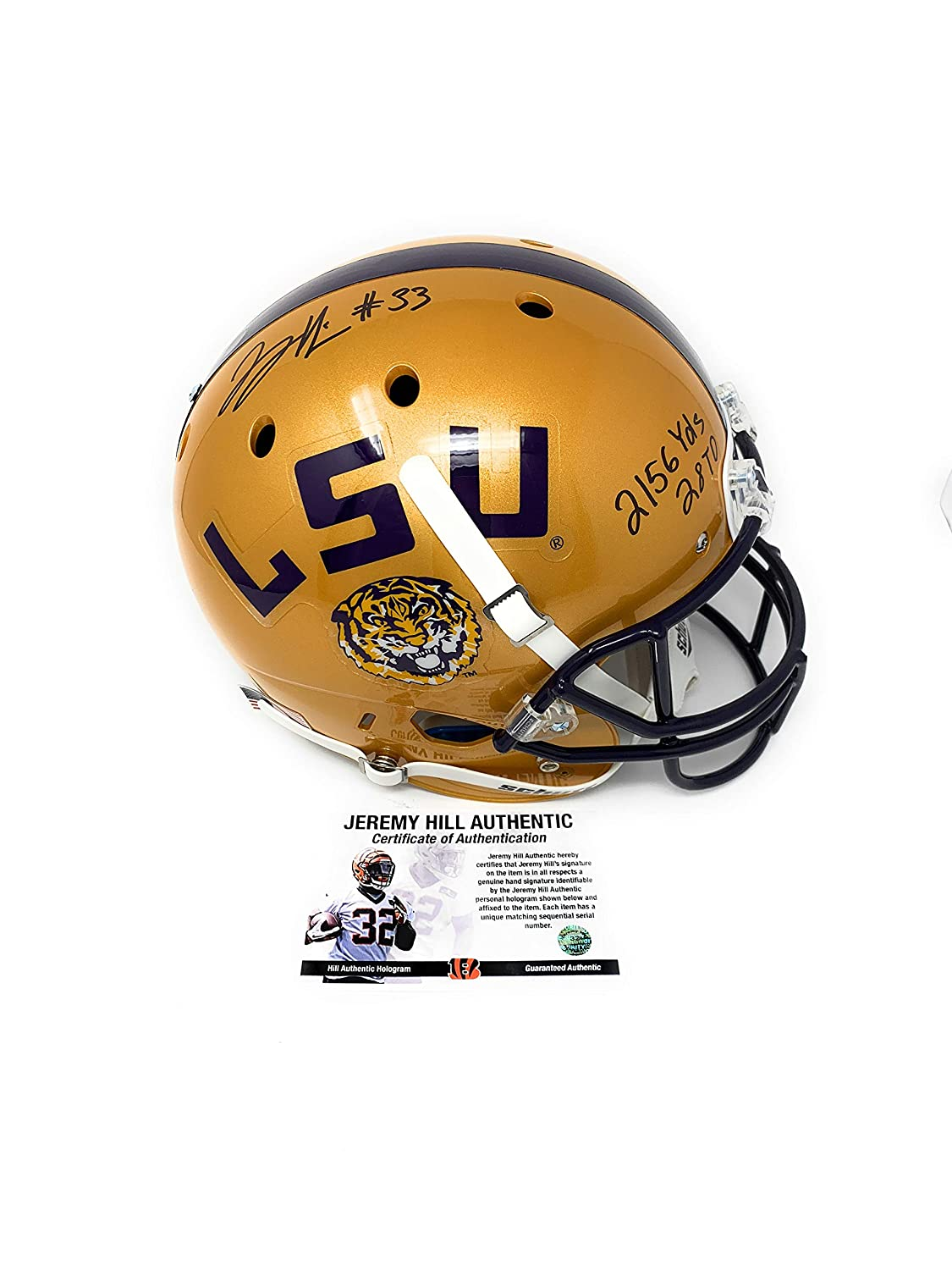Jeremy Hill LSU Tigers Signed Autograph Full Size Helmet Limited Edition Gold College Stats INSCRIBED JHILL Personal Player Certified