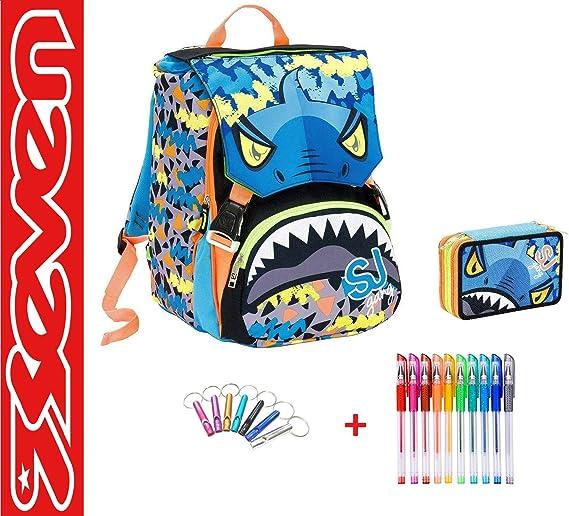 SEVEN. Mochila SJ Gang Animal Tiburón Escuela Desmontable Boy niño Flip System Azul + Estuche 3 Pisos Completo + Llavero Silbato + Paquete de 10 bolígrafos de Colores: Amazon.es: Deportes y aire libre