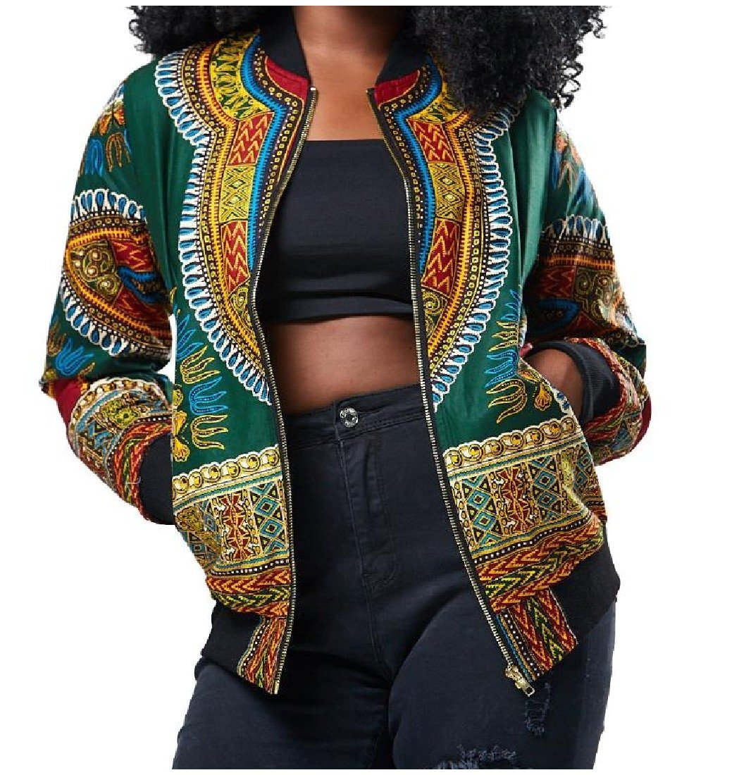 Coolred Women's African Dashika Jackets Retro Zipper Navajo Floral Coat Green Large by Coolred-Women