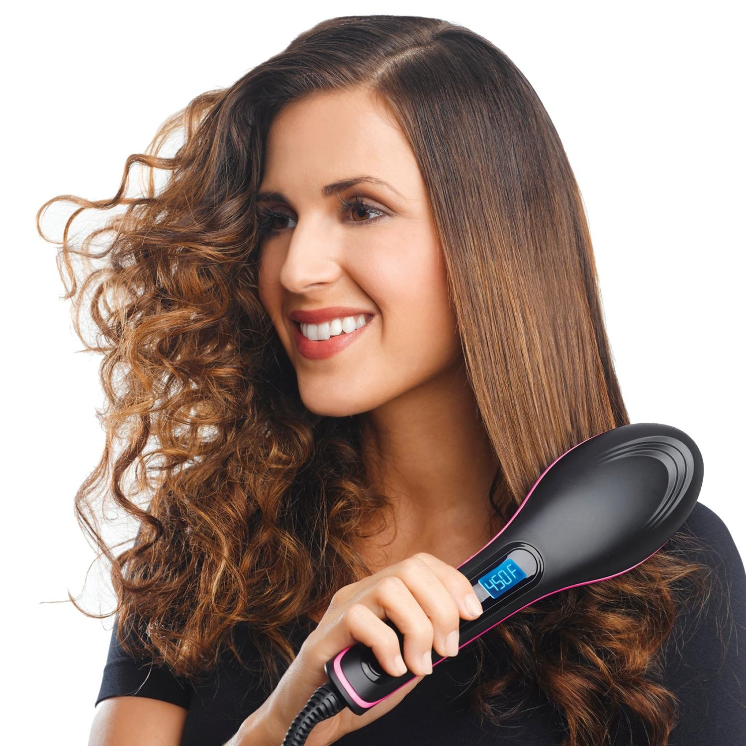 Buyerzone Hair Straightener Comb Brush With Temperature (Set of 1)(Multi Color) product image