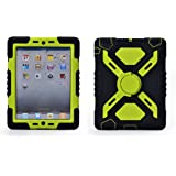 Pepkoo Ipad Mini 1& 2 Case Plastic Kid Proof Extreme Duty Dual Protective Back Cover with Kickstand and Sticker for Ipad Mini 1&2 - Rainproof Sandproof Dust-proof Shockproof (Black/green)