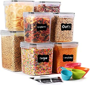 Airtight Food Storage Container - SODPE Cereal & Dry Food Storage Containers Set of 8, Leak Proof & BPA Free, with 4 Measuring Cups and 16 Labels & 1 Chalk Marker