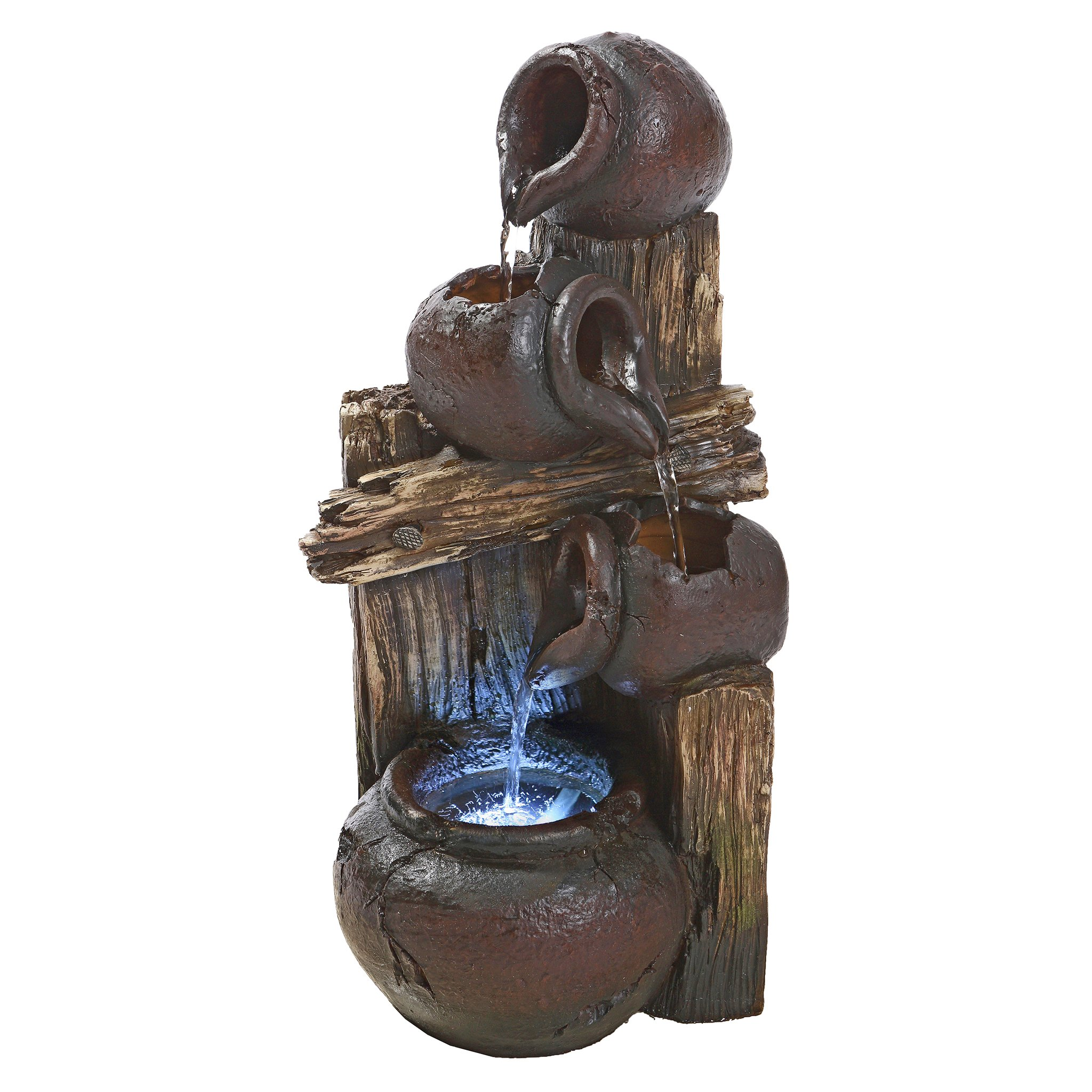 Water Fountain with LED Light - Casa Chianti Water Urns Garden Decor Fountain - Outdoor Water Feature
