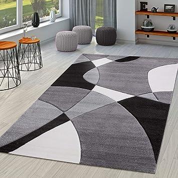 TT Home Tapis Moderne Salon Abstrait Découpe des Contours en Noir Gris  Blanc, Dimension:80x300 cm