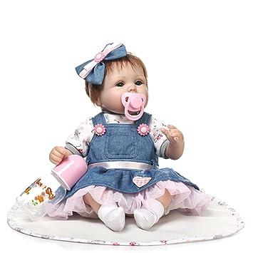 ZIY IUI 16 Pulgadas 40 cm Reborn Baby Doll Bebé recién Nacido Realista Vinilo de Silicona Suave muñeca with Pink Dress