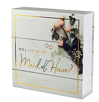 Amazon Com Maid Of Honor Proposal Box Premium Gold Stamped