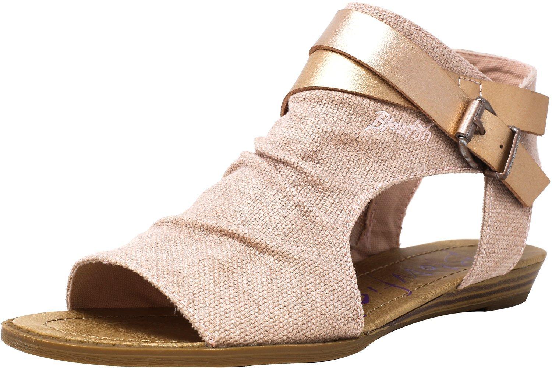 Blowfish Women's Balla Wedge Sandal B079LPPQ22 7 B(M) US|Rose Gold Rancher/Rose Gold Pisa Pu