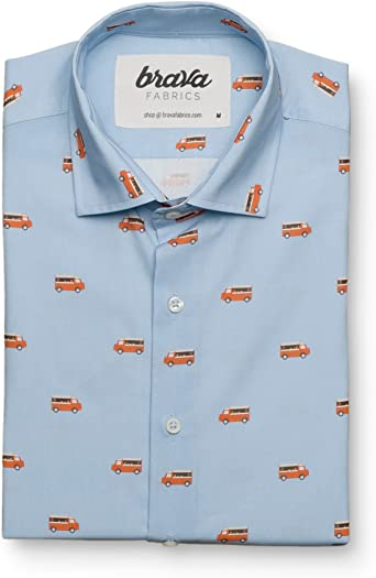 Brava Fabrics | Camisa Hombre Manga Larga Estampada | Camisa Azul para Hombre | Camisa Casual Regular Fit | 100% Algodón | Modelo Foodtruck | Talla 3XL: Amazon.es: Ropa y accesorios