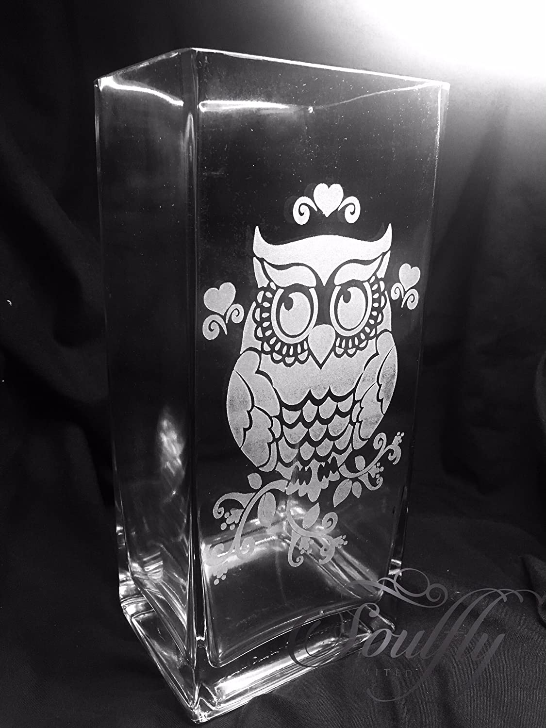 MOTHERS DAY OWL ENGRAVED GLASS TANK VASE - PERSONALISED FREE Engraved, etched glass personalised FREE gift, wedding, birthday, mother, father, anniversary, present, Mr & Mrs, engagement, day,