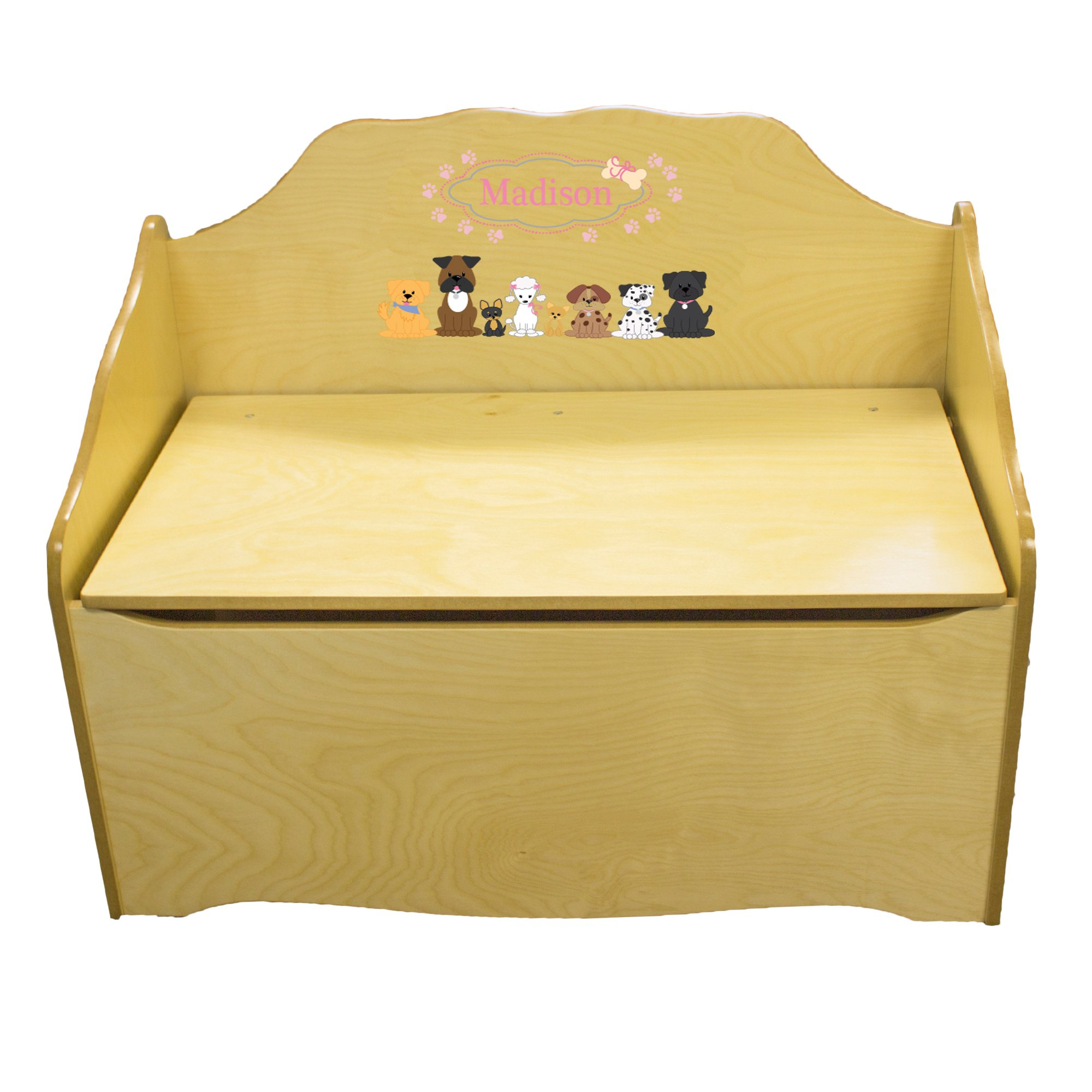 Personalized Pink Dog Childrens Natural Wooden Toy Chest