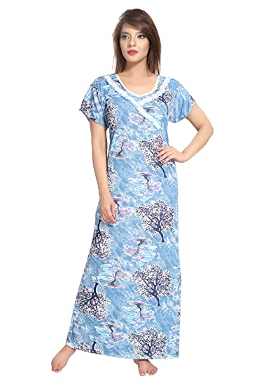 Image Unavailable. Image not available for. Color  Be You Blue Serena Satin  Floral Women s Night Gown a648cd13d