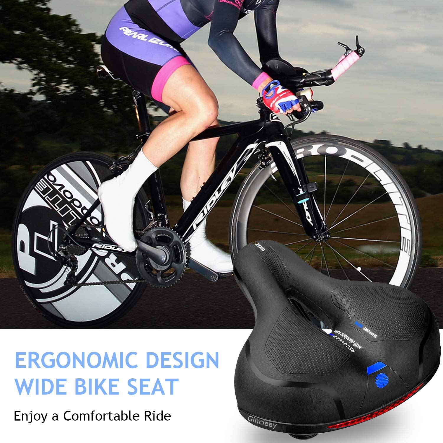 Gincleey Comfort Bike Seat for Women Men,Wide Bicycle Saddle Replacement Memory Foam Padded Soft Bike Cushion with Dual Shock Absorbing Rubber Balls Universal Fit for Indoor/Outdoor Bikes with Reflect