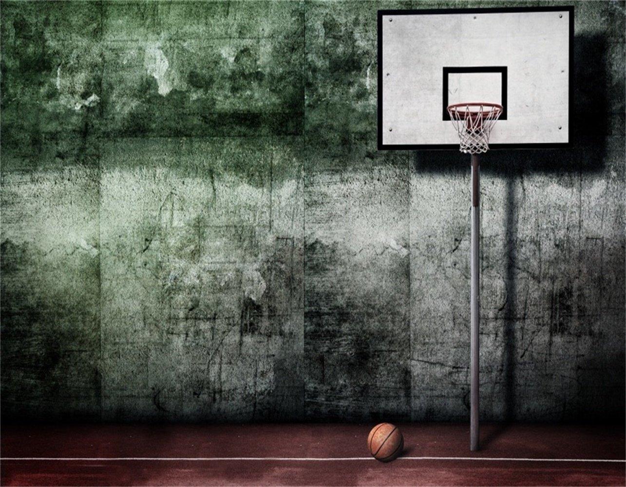 AOFOTO 9x7フィート バスケットボール ダンク コートバックドロップ レトロ アウトドア ボールゲーム フィールド 写真 背景 シャビーグランジオールドセメント 壁 学校 スポーツ 遊び チーム トレーニング スタジアム フォトスタジオ 小道具 壁紙   B07C1TRCST