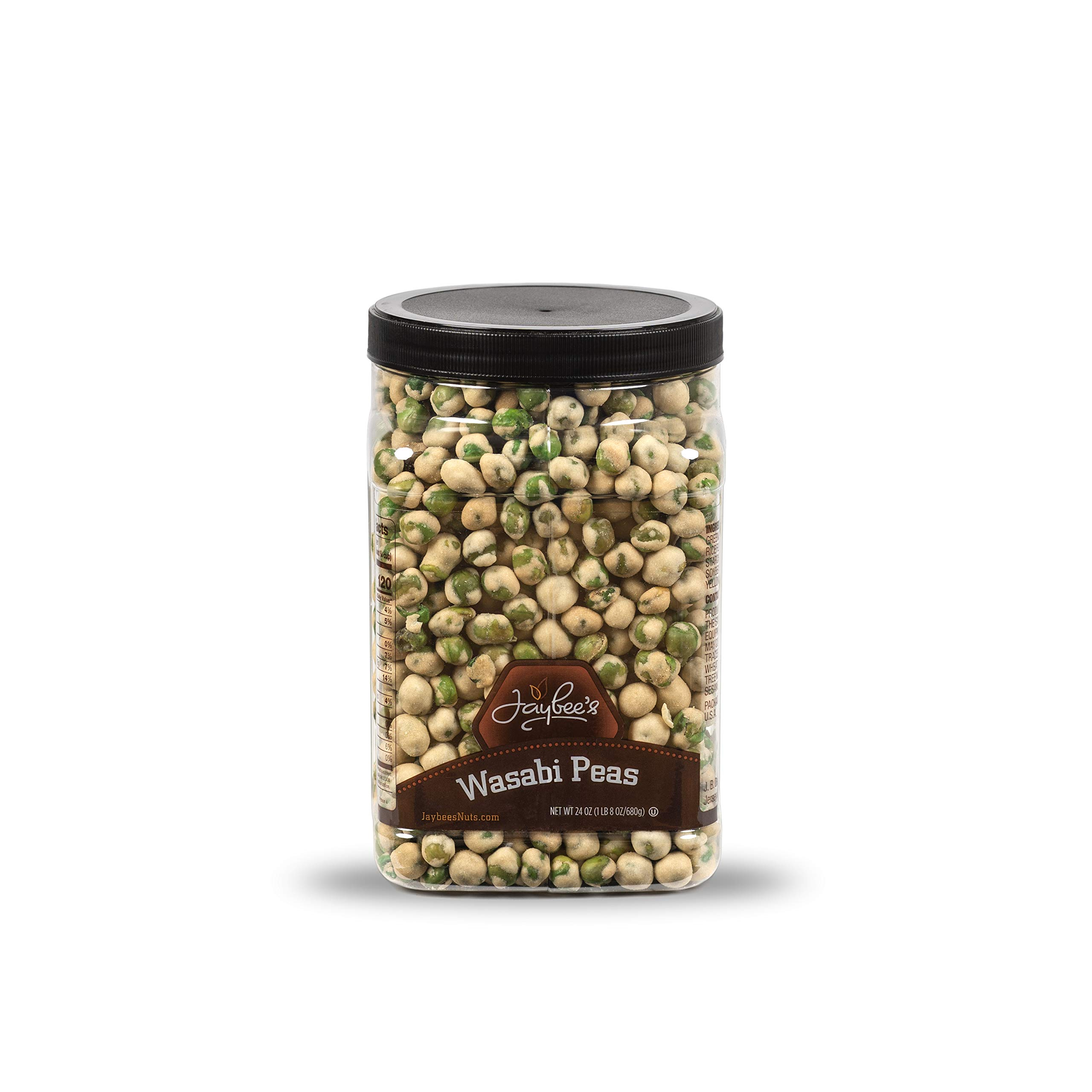 Wasabi Peas - (24 oz) Great Crunchy Spicy Snack for Daily Use - Plenty to Share - Reusable Jar Kosher Certified by Jaybee's Nuts by Jaybee's