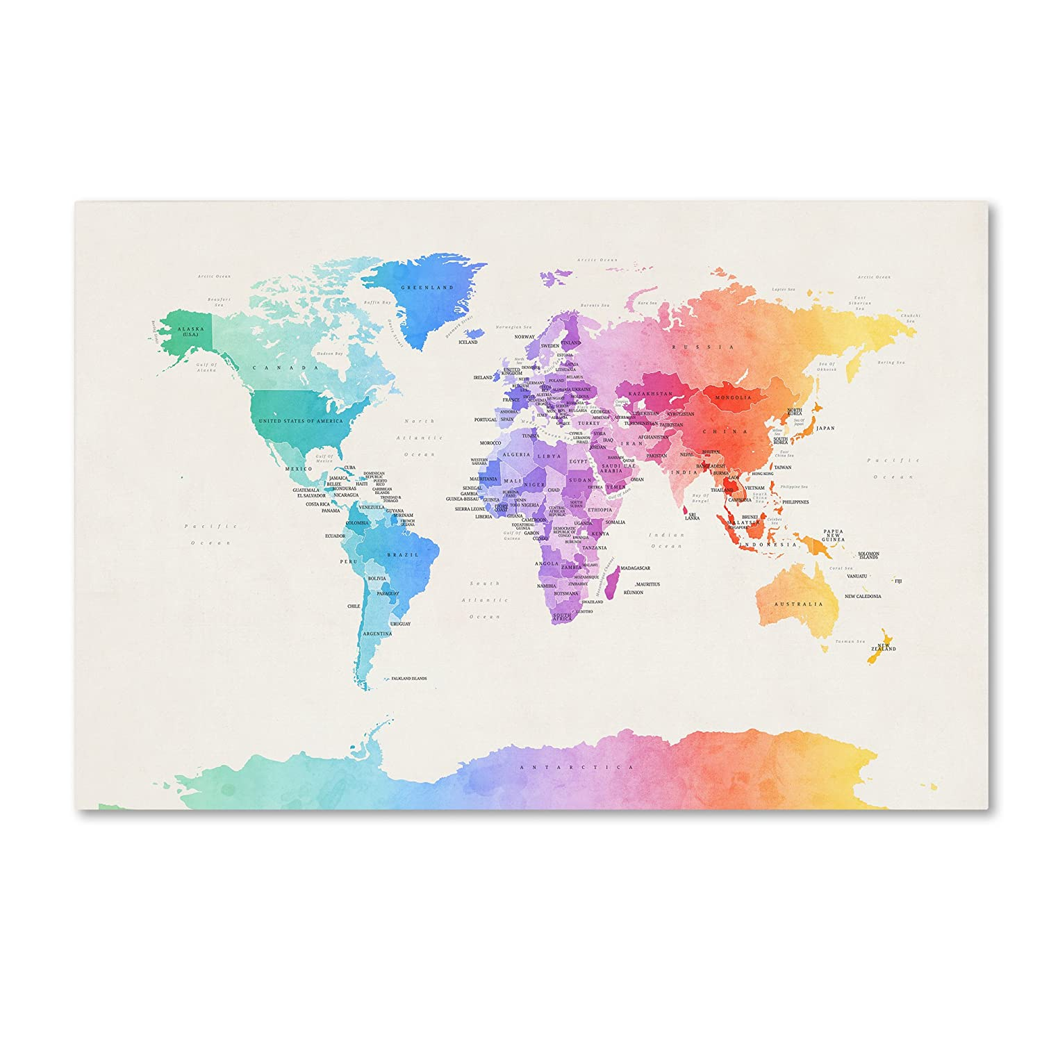 Watercolor Political World Map by Michael Tompsett, 30x47-Inch Canvas on georgetown on world map, costa rica on world map, el salvador map, cuba on world map, tenochtitlan on world map, recife on world map, panama on world map, tegucigalpa on world map, cabinda on world map, bahamas on world map, altamira on world map, santiago on world map, port of spain on world map, la habana on world map, salvador brazil on world map, arenal volcano on world map, santo domingo on world map, monterey world map, sanaa on world map, conakry on world map,