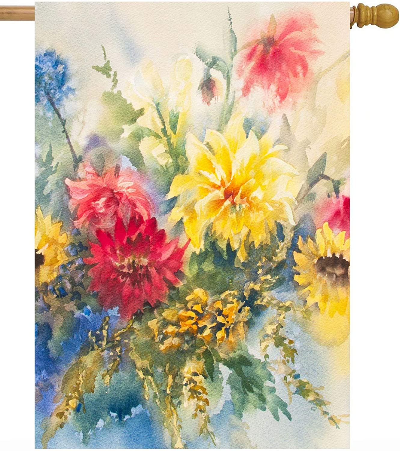 Pickako Seasonal Watercolor Summer Spring Floral Flowers Colorful Dahlias House Flag 28 x 40 Inch, Double Sided Large Garden Yard Welcome Flags Banners for Home Lawn Patio Outdoor Decor