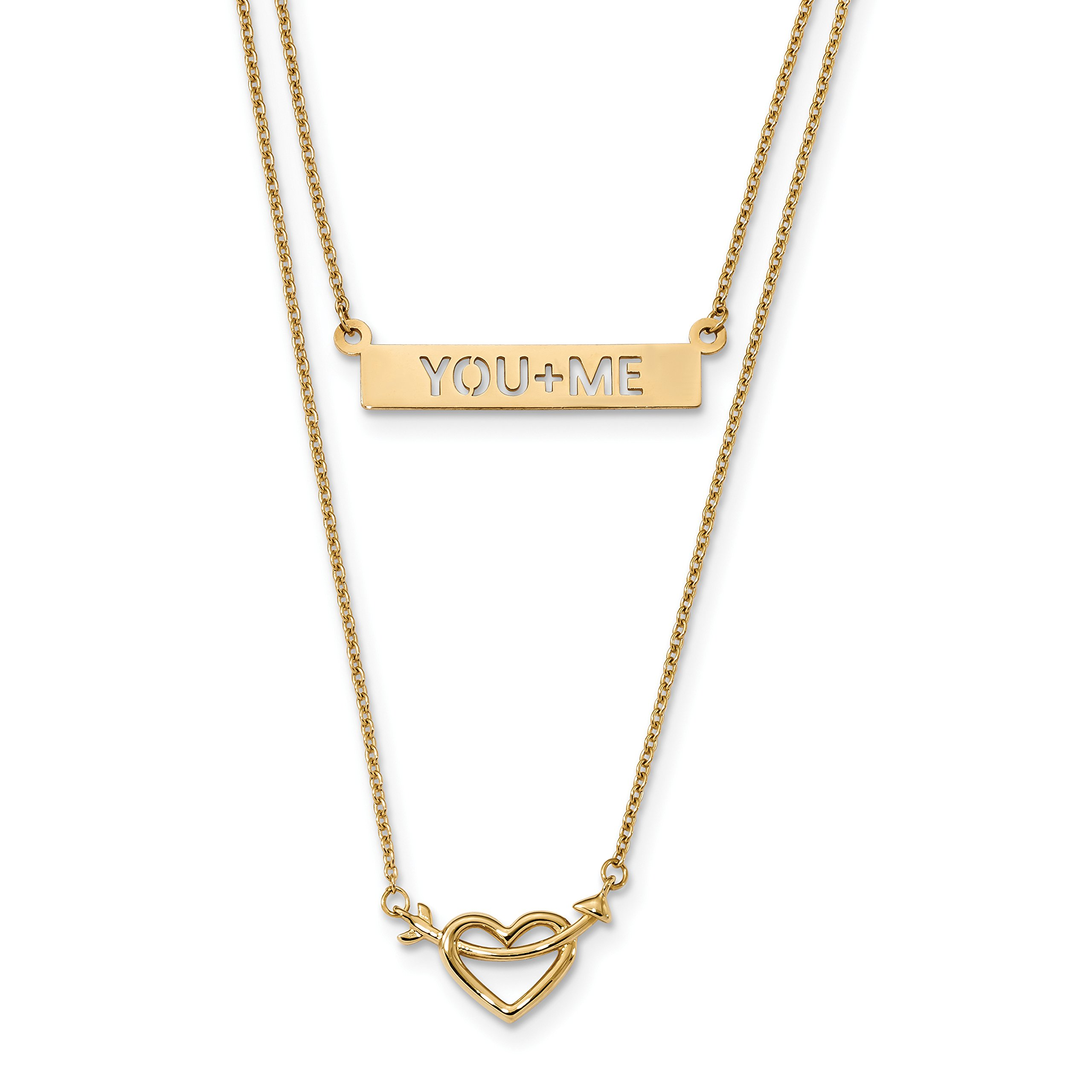 ICE CARATS 14k Yellow Gold Two Strand Heart You+me Bar Chain Necklace Fancy S/love Fine Jewelry Gift For Women Heart