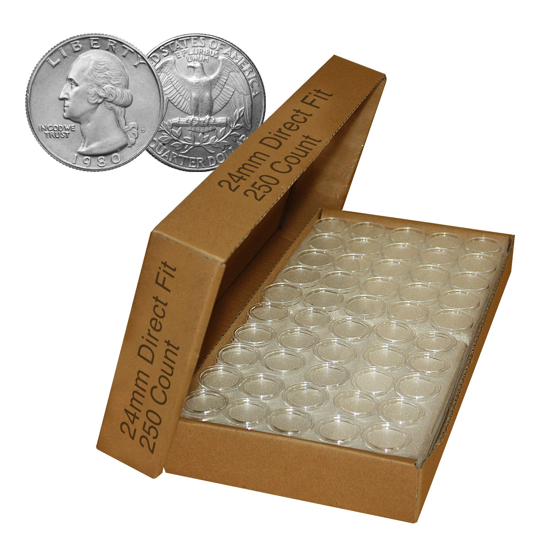 Direct Fit Airtight 24mm Coin Holder Capsules for QUARTERS - CASE QTY: 250