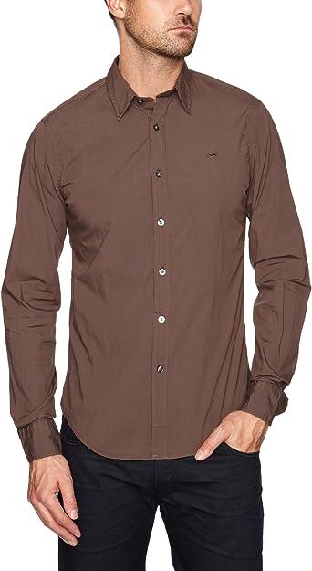 GAS - Camisa de Manga Larga para Hombre, Talla 39/40, Color marrón (Carbon): Amazon.es: Ropa y accesorios