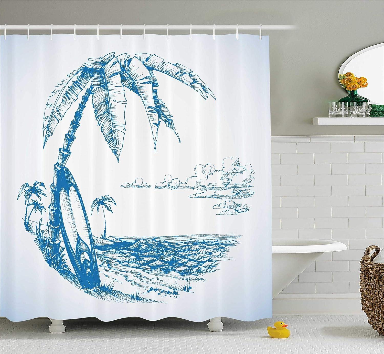 Amazon.com: Ambesonne Surf Decor Shower Curtain Set, Contemporary ...