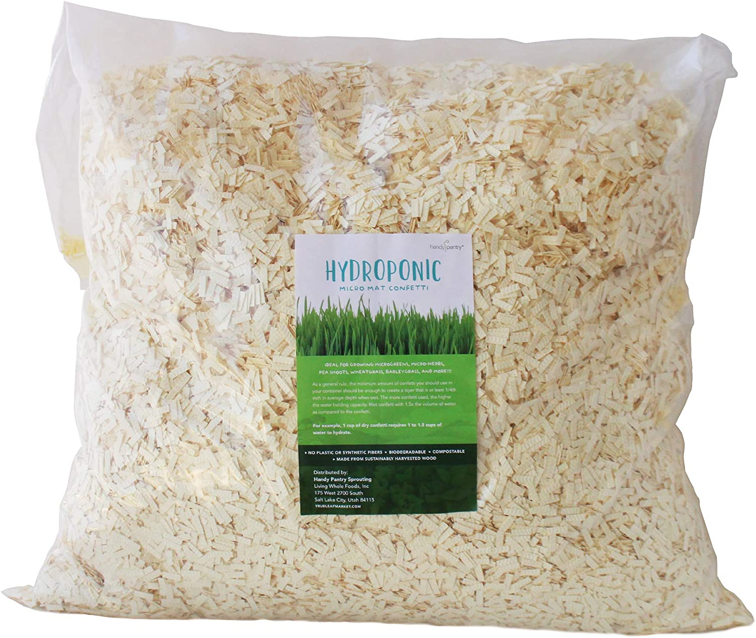 Micro Mat Hydroponic Confetti - 15 Lb Bag - Compostable Grow Medium for Microgreens & Wheatgrass - High Water Holding Capacity - 1 Lb Expands to 6.5 Quarts of Growing Media