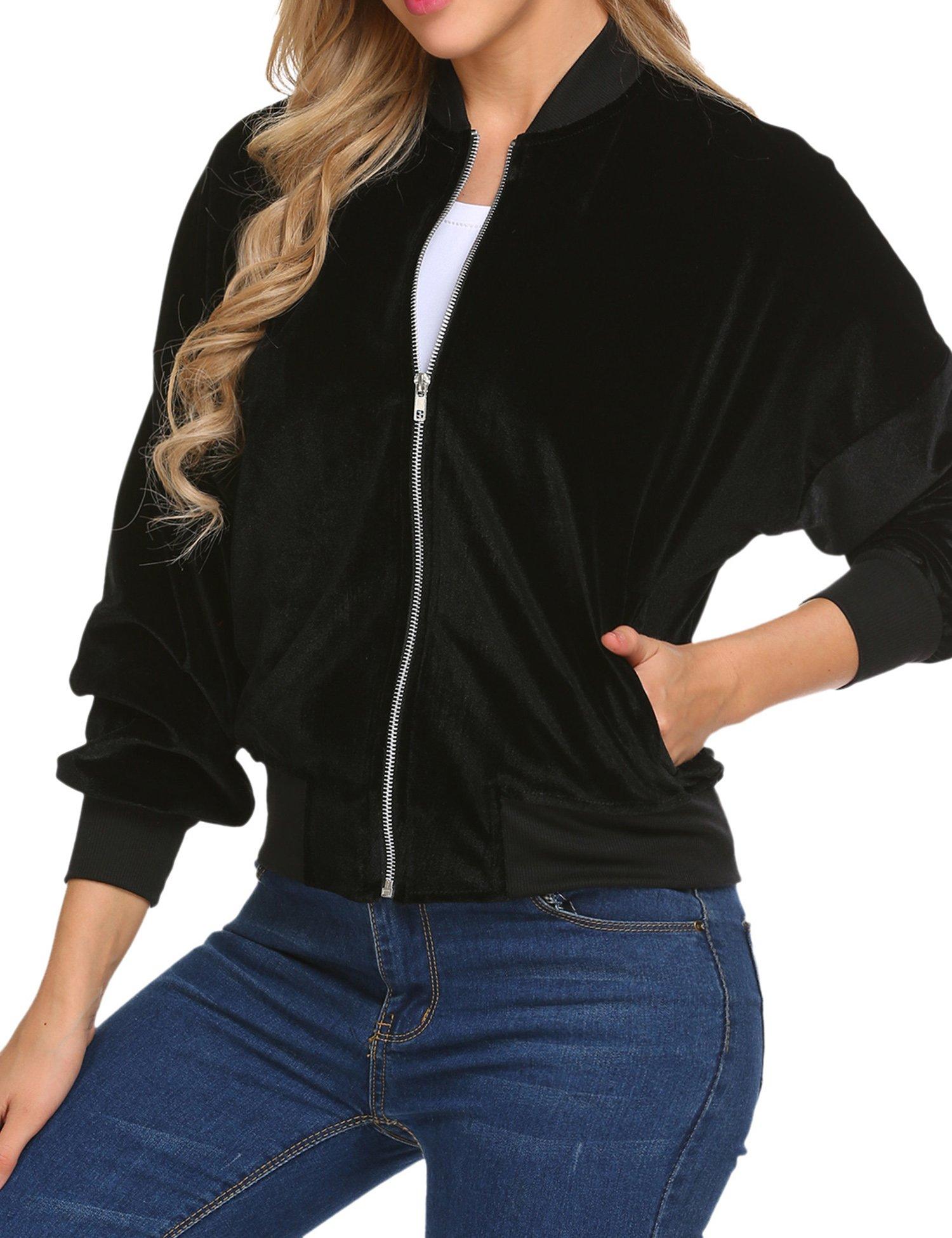 Beyove Women's Lightweight Velvet Coat Hooded Active Outdoor Windbreaker Jacket Black S by Beyove (Image #4)