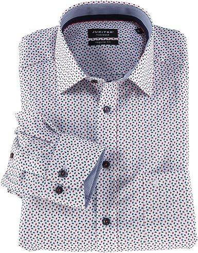 Jupiter Camisa de Manga Larga sin Plancha, Estampada en Rojo-Azul XXL