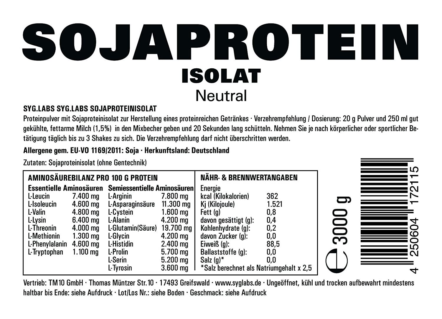 Syglabs Nutrition Soja Protein Isolat Neutral GMO frei, ohne ...