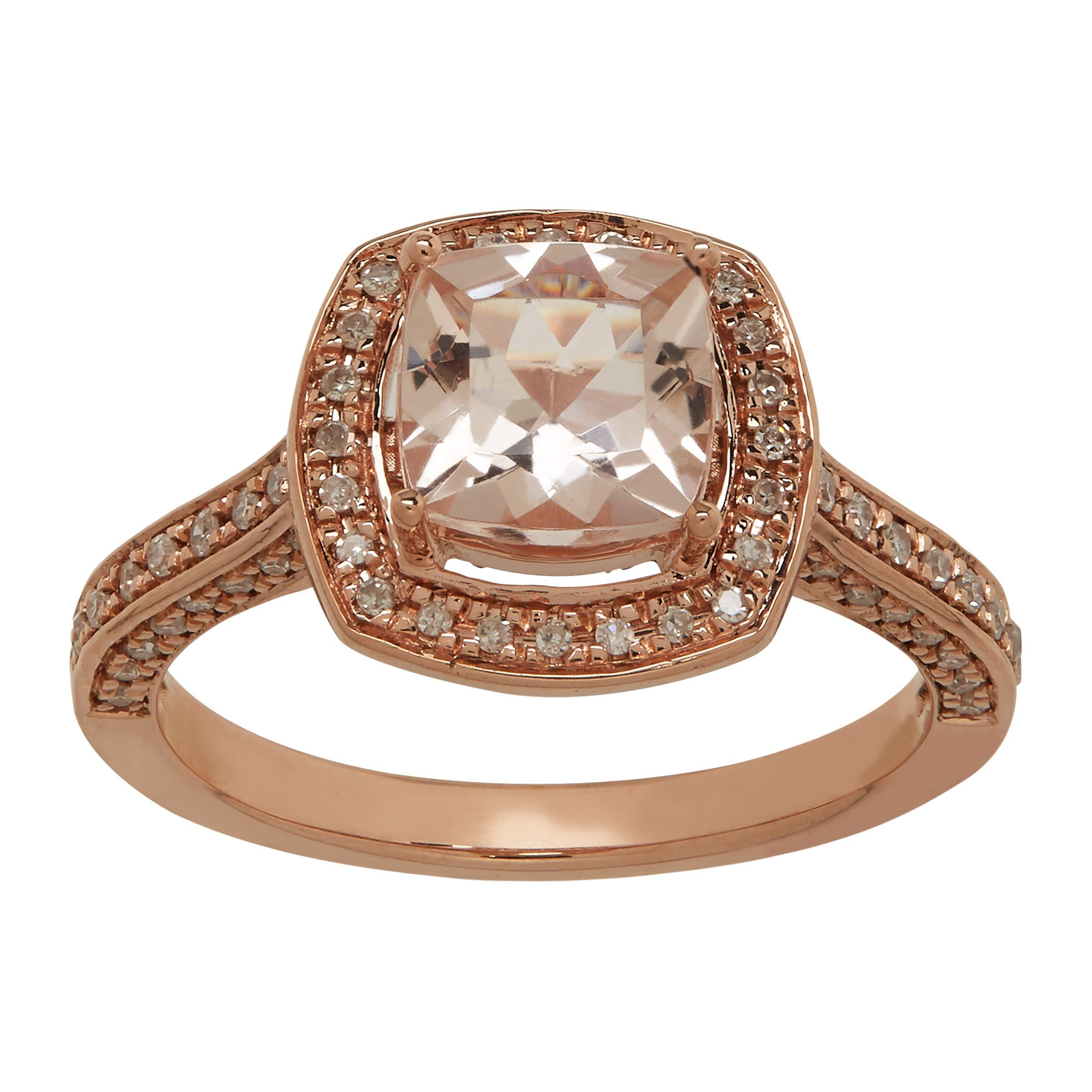 1 1/2 Natural Morganite & 1/4 ct Diamond Ring in 14K Rose Gold Size 7