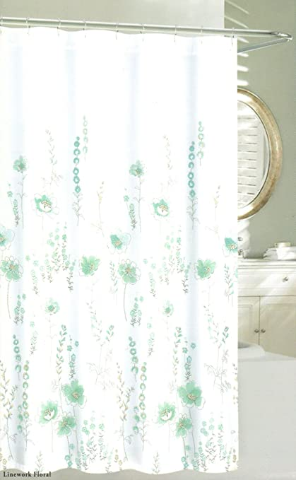 Nicole Miller Fabric Shower Curtain Linework Floral