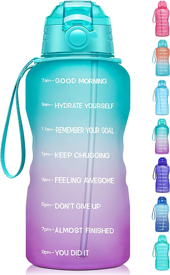 ETDW Gallon Motivational Water Bottle Jug with Time Marker 128oz BPA Free Big Water Bottle with Handle Leakproof Click Pop Up Daily Water Intake Bottle