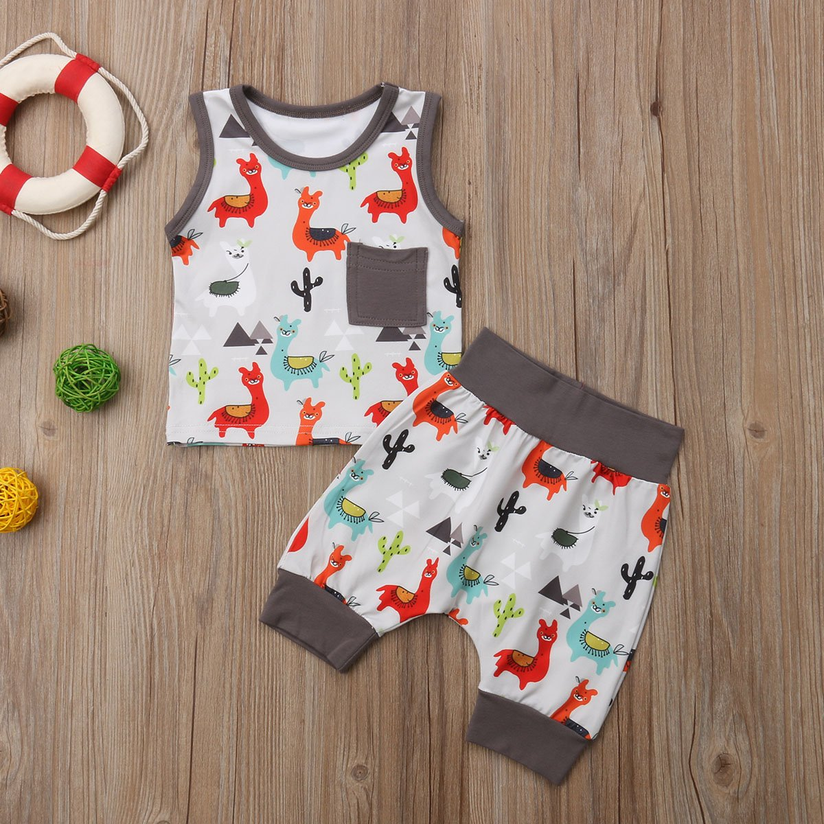 YAZAD Newborn Infant Toddler Baby Kid Boy Colourful Alpaca Tank Tops Sleeveless Vest Cute Shorts Pants Summer Outfit