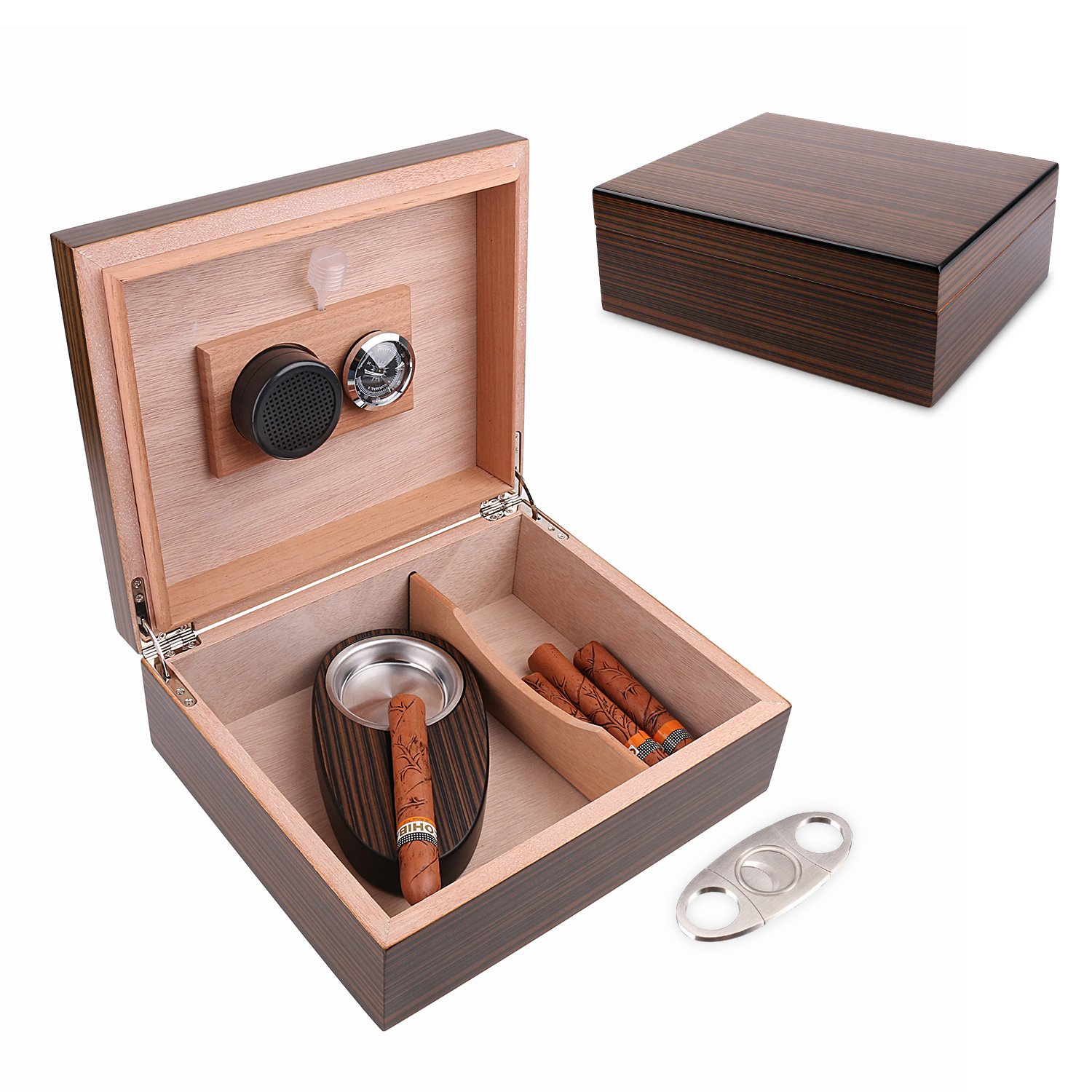 A Comely Cigar Humidor for 25-50 Cigars, Ebony, Spanish Cedar Wood Lined/Divider, Hygrometer and Humidifier, Ebony w Stainless Steel Astray/ Cigar Cutter, Luxury Cigar Box Gift Set
