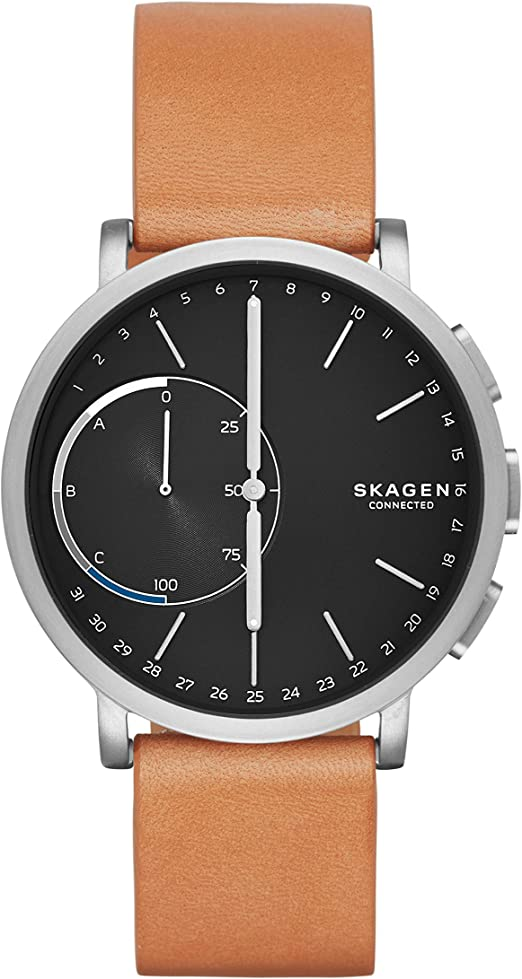 Skagen Connected Mens Hagen Titanium and Leather Hybrid Smartwatch, Color: Silver-Tone, Tan (Model: SKT1104)